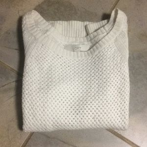 Loft Open Knit Cream Sweater